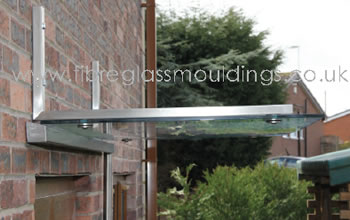 GC1082 Flat Glass Canopy 6mm upside down Gallows with Gutter